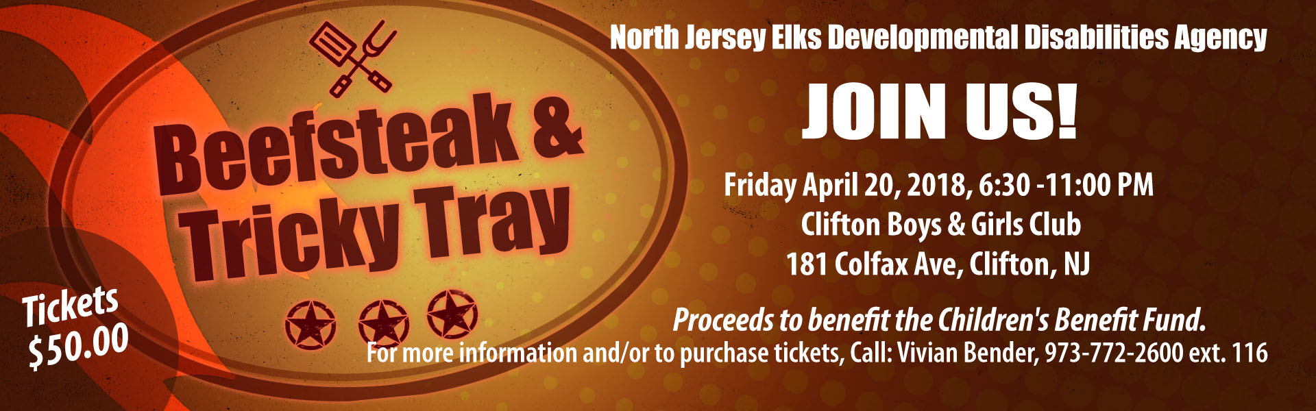Beefsteak and Tricky Tray event announcement